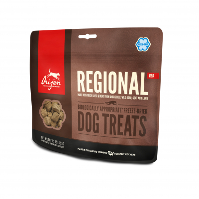 DS ORIJEN Freeze-dried Dog Treats Regional Red Front Left 1.5oz.jpg